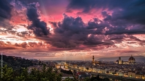 Florence Italy from Piazzale Michelangelo at sunset after a powerful storm  photo by Giuseppe Torre