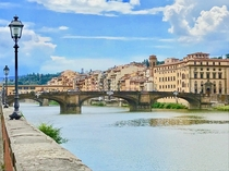 Florence Italy Santa Trinita Bridge by a drawing of Michelangelo