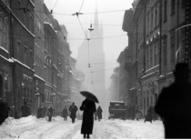 Floriaska Street in Krakw covered in snow taken in  during the Interwar period Poland