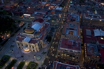 Flying above Bellas Artes Mexico City