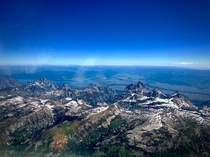 Flying east after departing from Driggs Idaho airport Grand Tetons   x