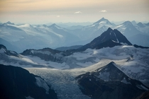 Flying Over Mountains and Glaciers in British Columbia