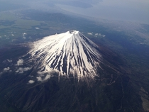 Flying over Mt Fuji Japan  May