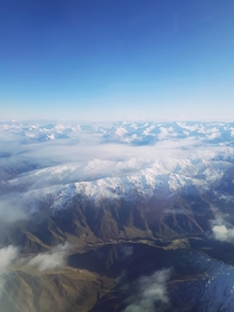 Flying over South Island New Zealand