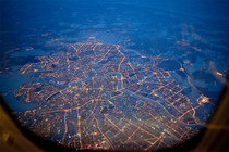 Flying over St Petersburg Russia
