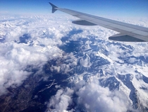 Flying over the Alps on my way to Venice Italy