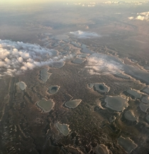 Flying over the extraterrestrial looking landscape of New Mexico