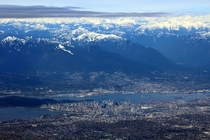 Flying over Vancouver British Columbia on a clear day