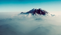 Flying up to Seattle I looked out the window and shot this photo of Mount Rainier