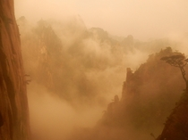 Fog blowing in at Huangshan -- like a Chinese landscape painting