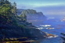 Fog breaking in Cape Flattery WA Northwestern most point in the contiguous United States