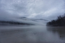 Fog rolled in while hiking along the Tennessee River  in Chattanooga TN