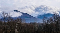 Fog rolling over Mount Mansfield Vermont