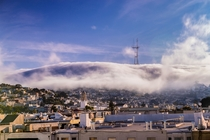 Fog rolling over Twin Peaks San Francisco California
