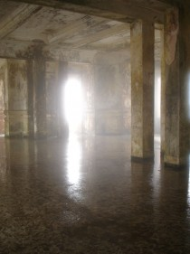 Fog spills into the casino hall in the abandoned French hotel on Bokor hill station Cambodia