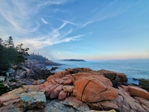 Fog started rolling in on the shores of Acadia Ntl Park Maine