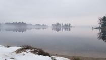 Foggy day hike with a clear lake Midwest United States OC x