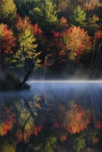 Foggy Foliage Sunrise Over the Souhegan River New Hampshire