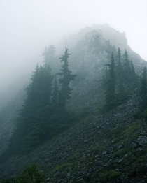 Foggy Mountain Tops in the Cascade Range WA