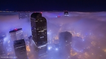 Foggy night in Denver Colorado