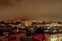 Foggy night in the Mission District San Francisco California