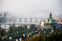 Foggy Prague Czech Republic