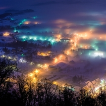 Foggy winters night in Pregrada Croatia