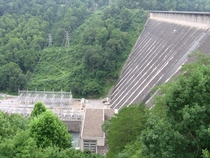 Fontana Dam a Tennessee Valley Authority hydroelectric facility in North Carolina powerhouse and switchyard