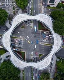 Footbridge over intersection - Shenzhen China