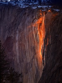 For a few days in February each year when several weather and climatic conditions are just right the Horsetail Fall in Yosemite national park glows like fire