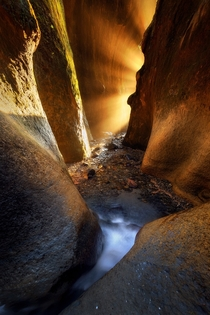 For only a brief period of the year the setting sun lines up perfectly with this slot canyon and creates some amazing light rays Vancouver Island BC  IGJayKlassy