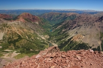For those of you that are tired of the usual photos of the Maroon Bells here is the view from the summit North Maroon looking down