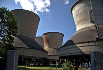 Forced draft cooling towers at the power plant Franken I Germany
