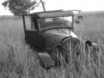 Ford Model A in a hayfield