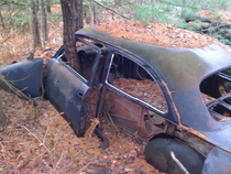 Ford two door sedan in the woods