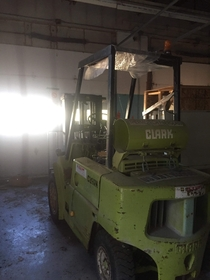 Forklift that got left in a warehouse that was owned by a windows company that got bankrupt in  key were still in the ignition