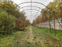 Former abandoned vegetable passage in the park of the Imperial Palace of Compigne France