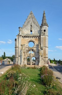 Former facade of church now cemetery gate in Chateaudun France