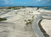 Former housing area at Johnston Atoll last used as chemical weapons destruction facility with buildings removed