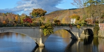Former trolley car bridge in Shelburne Falls MA later repurposed as a Bridge of Flowers