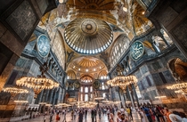 Formerly a Greek Orthodox Christian basilica and Imperial Mosque The Hagia Sophia Museum - Istanbul Turkey