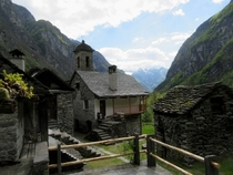 Foroglio a tiny stone village in the italian speaking Ticino area of Switzerland