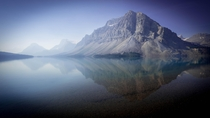 Forrest fire haze over Bow Lake Canadian Rockies Alberta