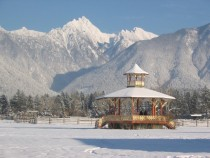 Fort Steele gazebo at the foot of the Kootenay Rockies