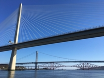 Forth Bridges Scotland - cantilever suspension and cable-stayed spanning three centuries