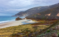 Found this beach gated off while driving through Big Sur California Completely untouched
