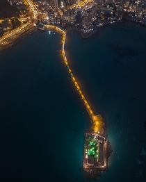 Found this Beautifully Lit Aerial View of Haji Ali Dargah on Twitter City Mumbai
