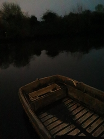 Found this boat tied up out in the middle of the woods