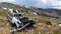 Found this long abandoned Oldsmobile at the top of a mountain near Keno City Yukon