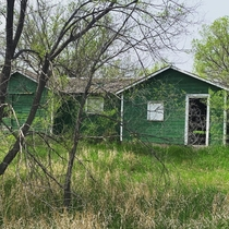 Found this on a hike in North Dakota The green exterior really blended in with the surroundings